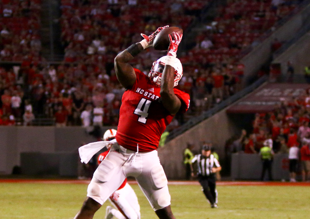 Jerod Fernandez (4) picks off a Steve Cluley (16) pass. NC State opened the season with a 48-14 victory over William and Mary on September 1, 2016 in Raleigh, North Carolina. (Jerome Carpenter/WRAL Contributor)